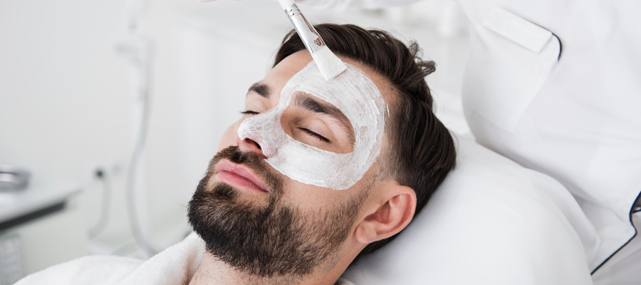 Man getting skin care treatment