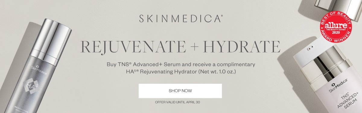 SkinMedica REJUVENATE+HYDRATE - Buy TNS Advanced+ Serum and receive a complimentary HA Rejuvenating Hydrator (1 oz). Offer valid until Apr. 30